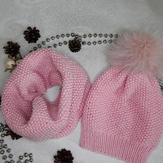 Комплект вязаний дитячий (шапка+снуд)