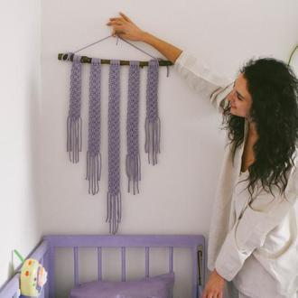 Фиолетовое панно на стену Декор стен Настенное панно сиреневого цвета Бохо стиль Макраме панно Декор