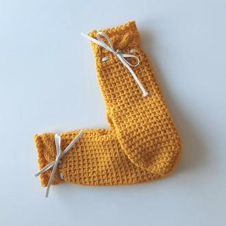 Варежки желтые с декоративным бантиком с люрексом