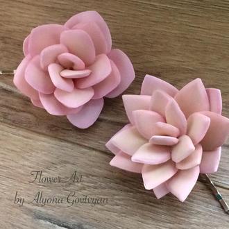 Невидимки для волос «Розовые суккуленты «