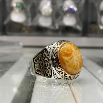 Перстень с огненным янтарем и авантюрином из серебра ручной работы кольцо мужское серебряное