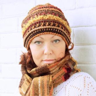 Шапка Boho Lady (рыже-коричневая гамма)