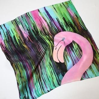 Карманный шелковый платок с розовым фламинго, шовкова хустка, аксессуар на сумку или запястье
