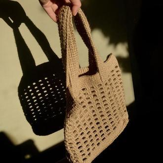 Авоська вязанная из джута. Сумка. Торба