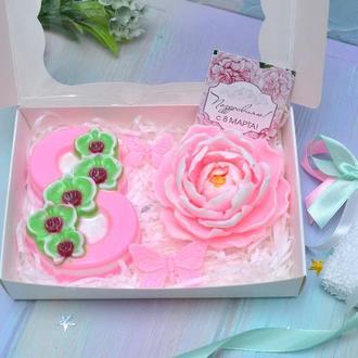 Набор мыла на 8 марта, Восьмерка с орхидеями, Пион