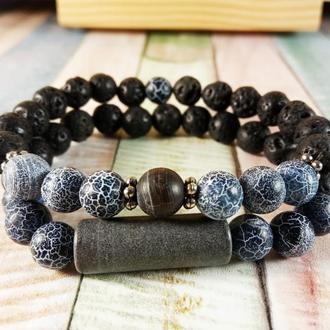 СЕТ браслет для мужчин Натуральные камни  8 мм Элитный шунгит, черный морозный агат, лавовый камень