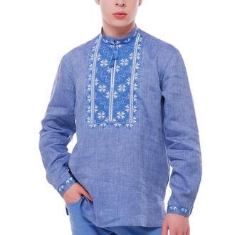 Рубашка вышиванка мужская Творимир (лен голубой)