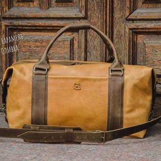 Спортивная мужская кожаная сумка. Дорожная сумка