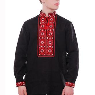 Рубашка вышиванка мужская Светозар (лен черный)