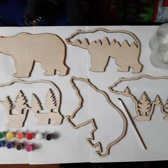 """3D раскраска для творчества """"Медведь"""" для детей и взрослых"""