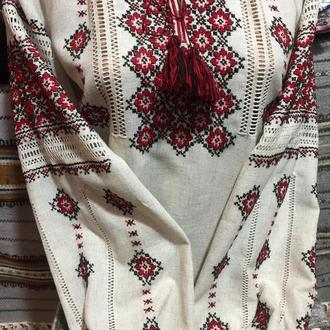 Стильная рубашка на сером льне. ТМ SavchukVyshyvka