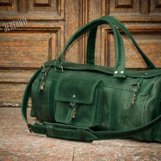 Большая кожаная мужская дорожная сумка. Спортивная сумка