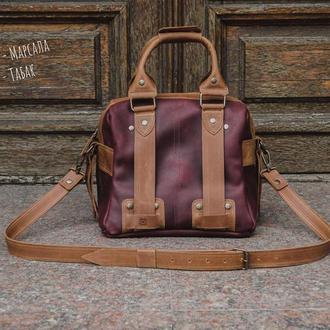 Женский кожаный саквояж для путешествий. Дорожная женская сумка