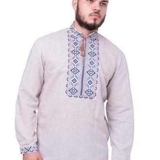 Рубашка вышиванка мужская Подолян (серый лен)