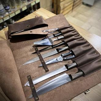 Кожаная сумка скрутка для поварских ножей