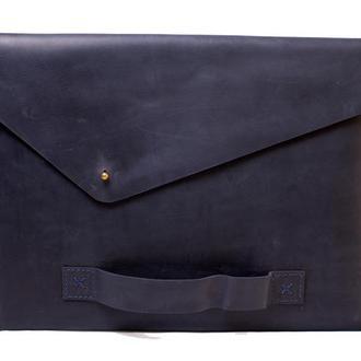 Кожаный чехол для Macbook с ручкой. 03016/синий