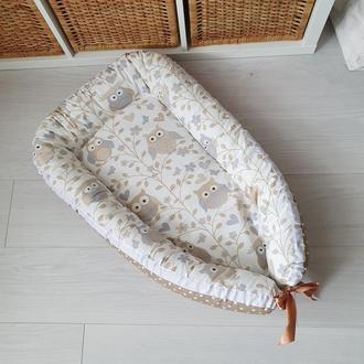 Гнездышко для новорожденного (кокон, бебинест) Owls Beige