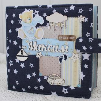 Объемный фотоальбом для новорожденного мальчика , скрапбукинг альбом для малыша