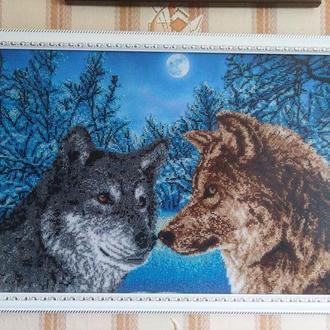 """Картина вишита чеським бісером """"Вовки"""""""
