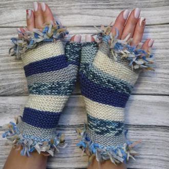Вязаные митенки - женские перчатки без пальцев