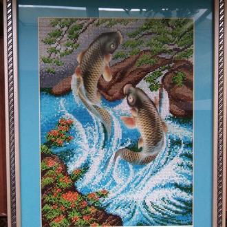"""Картина вышитая чешским бисером """"Рыбы"""""""