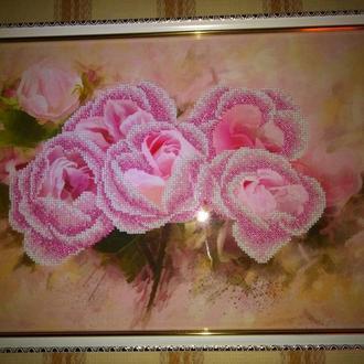 "Картина вышитая чешским бисером ""Розы"""