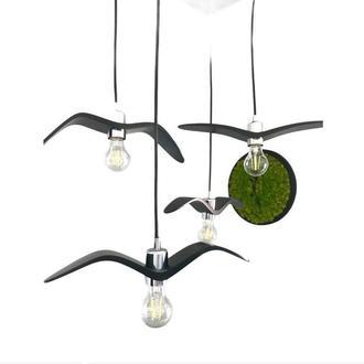 Деревянный светильник ручной работы Ночная Птица Черная (Black Night Bird). Дизайнерский светильник.