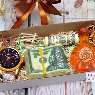 Набор мыла для мужчин МУЖЧИН, на 23 февраля, доллар, коньяк