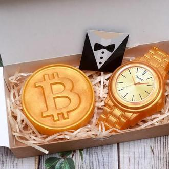 Набор мыла для мужчин Время -деньги, часы, биткоин