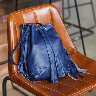 Синий Кожаный Рюкзак Мешок Для Женщин