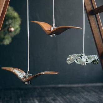 Натуральные деревянные светильники Ночные Птички (Night Birds). Современные светильники на заказ.