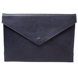 Кожаный чехол для Macbook на кобурной застежке. 03023/синий
