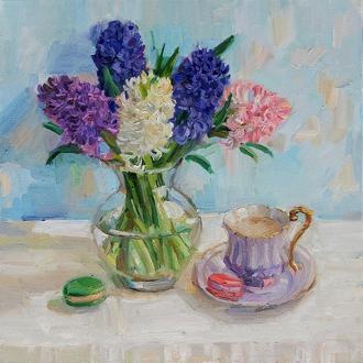 Картина маслом натюрморт с цветами