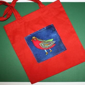 Красная хлопковая эко сумка с птичкой, сумка с ручной росписью, red tote bag, подарок на 8 марта