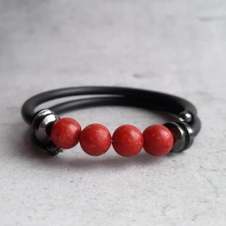 Красивый женский браслет с кораллом. Браслет с коралловыми бусинами. Подарок браслет.