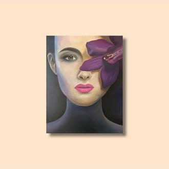 Картина»Девушка с орхидеей «