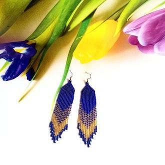 Серьги из бисера синие с золотым переливом Эксклюзивные серьги на подарок