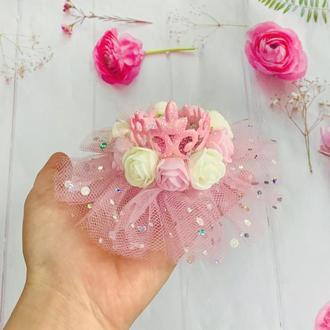 Розовая корона для принцессы/ корона с цветами/ корона на годик/ подарок девочке