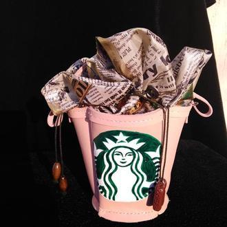 Кожаное ведёрко -сумочка