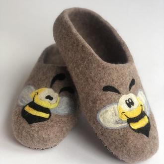 """Валяные тапочки """"Пчелки"""""""