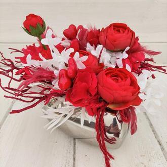 Композиция ко Дню Валентина. Композиция на стол. Подарок. Композиція до Дня Валентина.Подарунок.