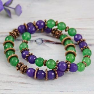 Браслет из агата зеленого и фиолетового цвета