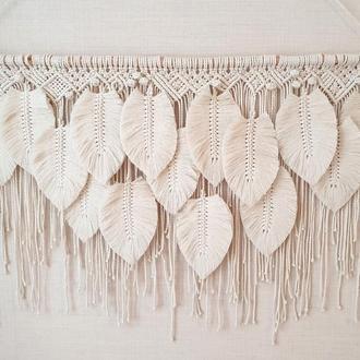 Панно из перьев Большие перья макраме Декор спальни Декор над кроватью
