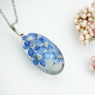 Подарок девушке на 8 марта день рождения Кулон с голубыми незабудками (модель № 2769) Glassy Flowers