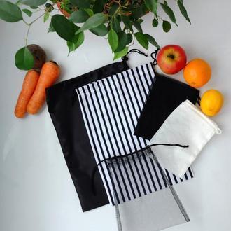 Эко мешочки 5 шт, набор эко пакетов для покупок, фруктовки, мішечки zero weste