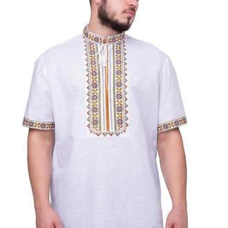 Сорочка чоловіча Дубове листя (льон білий)