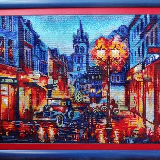 Картина вышита бисером «Ночной Амстердам»