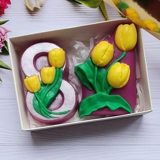 Набор мыла  тюльпаны в подарочной коробке с фигурным окном золото. Подарки к 8 марта.