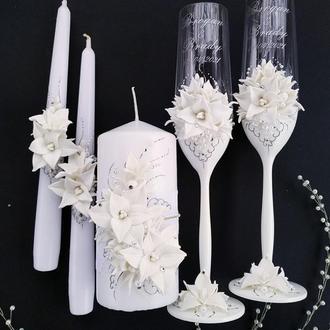 """Свадебные бокалы и свечи """"Лилии"""""""