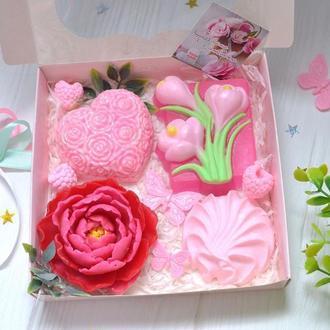 Набор мыла на 8 марта, цветы, сердце, роза